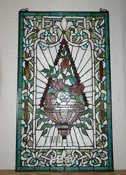 20 x 34 Tiffany Style stained glass window panel Jeweled flower basket