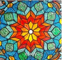 21 Floral Blossoms Tiffany Style Stained Glass Window Panel with Chain