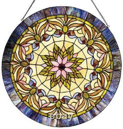 21 Victorian Passion Tiffany Style Stained Glass Window Panel with Chain