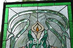 21 x 35 Stained glass window panel Lily Flower Beveled Clear Glass