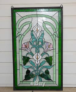 21 x 35 Stained glass window panel Lily Flower Beveled Clear Glass SOLD AS IS