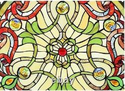 23.4 x 23.4 Rosalina Tiffany Style Stained Glass Window Panel