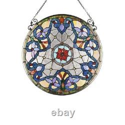 23.5 Round Victorian Floral Tiffany Style Stained Glass Window Panel
