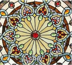 23.5 x 23.5 Victorian Helena Tiffany Style Stained Glass Window Panel