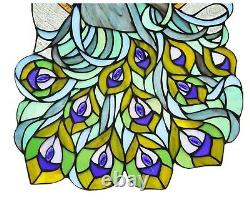 23.8 x 15.4 Peacock Tiffany Style Stained Glass Window Panel