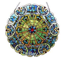 23 Round Multi-Color Tiffany Style Stained Glass Victorian Design Window Panel