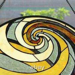 23 Tiffany Style Terra Swirl Stained Glass Round Window Panel