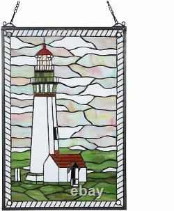 23 x 15 Tiffany Style Stained Glass Lighthouse Magic Window Panel