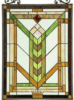 24.5 x 17.5 Pure Mission Tiffany Style Stained Glass Window Panel With Chain