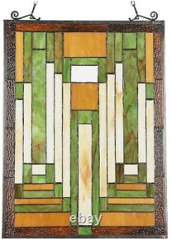 24.6 X 17.7 Modern Mission Tiffany Style Stained Glass Window Panel Home Decor
