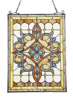 24.6 x 17.7 Timeless Victorian Tiffany Style Stained Glass Window Panel