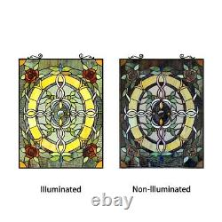 24 H Tiffany Style Stained Glass Floral Bonica Window Panel