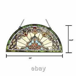 24 H Tiffany Style Victorian Stained Glass Window Panel Demi Lune Half Moon