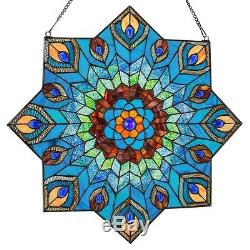 24 Stained Glass Peacock Star Glass Wall / Window Panel #15045 Feathers Blue