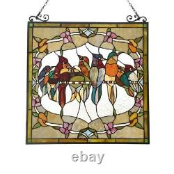 24 W x 25 H Stained Glass Window Panel Birds Floral Tiffany Style