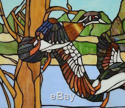 24 x 18 MALLARD DUCKS WOODDUCK BIRDS Tiffany Style Stained Glass Window Panel