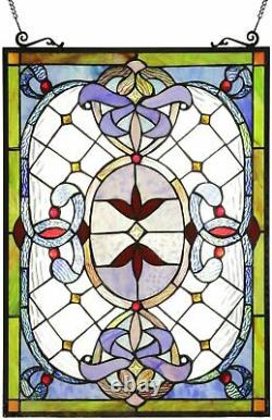 24 x 18 Stained Glass Tiffany Style Victorian Exclusive Window Panel