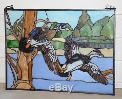 24 x 18 TWO MALLARD WOOD DUCKS BIRDS Handcrafted Stained Glass Window Panel
