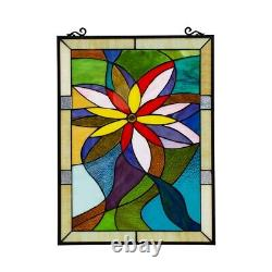 24 x 18 Tiffany Style Daisy Pop Floral Stained Glass Window Panel