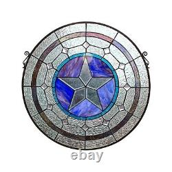 24 x 18 Tiffany-Style Sand Star Stained Glass Round window Panel