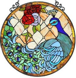 24 x 23 Peacock Princess Tiffany Style Stained Glass Round Window Panel