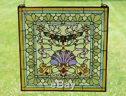 24 x 24 Colorful Handcrafted stained glass Jeweled window panel