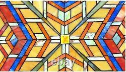 24 x 24 Mission Maze Tiffany Style Stained Glass Window Panel with Chain