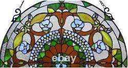 24 x 24 Tiffany Style Stained Glass Window Panel With Chain