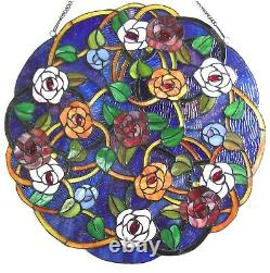 24 x 24 Victorian Round Floral Tiffany Style Stained Glass Window Panel