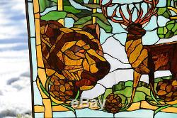 24 x 36 Bald Eagle Bear and Deer Tiffany Style stained glass window panel