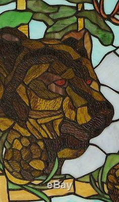 24 x 36 Bear Eagle Deer Pine Cone Handcrafted stained glass window panel