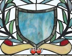24x11 Sky Blue Coat of Arms Tiffany Style Stained Glass Half Moon Window Panel