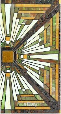 25.5 x 24.4 Tunnel Mission Tiffany Style Stained Glass Window Panel with chain