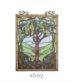 25 H x 18 W Tiffany Style Stained Glass Window Panel Tree of Life
