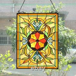 25 Tiffany-Style Stained Glass VIctorian Sunburst Floral Window Panel