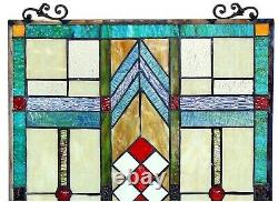 25 x 17.5 Bright Mission Tiffany Style Stained Glass Window Panel