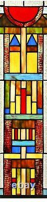 25 x 17.5 Mission Towers Tiffany Style Stained Glass Window Panel