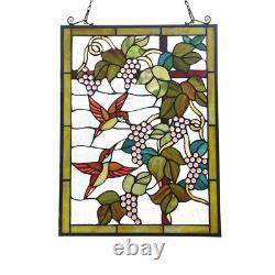 25 x 18 Hummingbird & Grapes Stained Glass Tiffany Style Window Panel