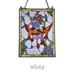 25 x 18 Tiffany Style Red Birds Romance Stained Glass Window Panel
