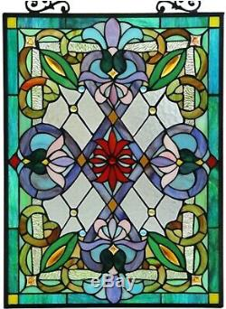 25 x 18 Victorian Motif Stained Glass Window Panel With Chain