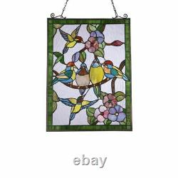 25 x 18 hummingbirds Stained Glass Tiffany Style Window Panel