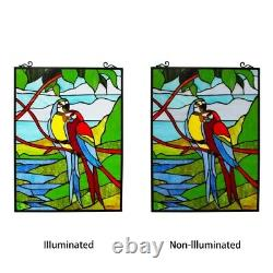 25x18 Stained Glass Window Macaw Parrot Birds Tiffany Style Window Panel