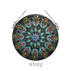 26 x 26 Victorian Style Stained Glass Round Arabella Window Panel