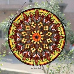 27 x 26 Victorian Style Stained Glass Round Arabella Window Panel