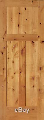 3 Panel Flat Shaker Knotty Alder Stain Grade Solid Core Interior Wood Door Doors
