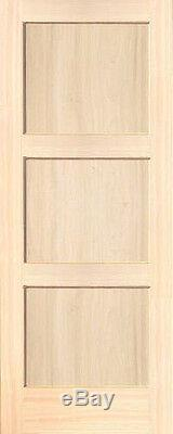 3 Panel Poplar Equal Flat Mission Stain Grade Solid Core Interior Wood Doors