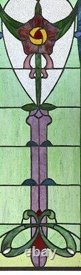 30.5 x 11 Art Nouveau Organic Rose Tiffany style Stained glass Window Panel