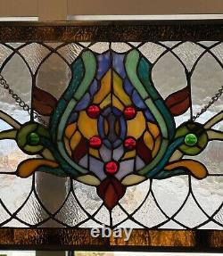 30L Oakley Amber Tiffany-Style Stained Glass Pub Window Panel