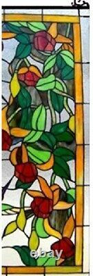 32 x 20 Hummingbird Floral Tiffany Style Stained Glass Window Panel with Chain