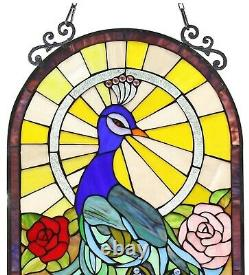 32 x 20 Large Regal Sunrise Peacock Tiffany Style Stained Glass Window Panel